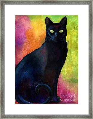 Black Cat 9 Watercolor Painting Framed Print