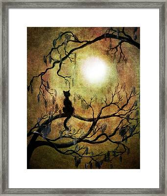 Black Cat And Full Moon Framed Print by Laura Iverson