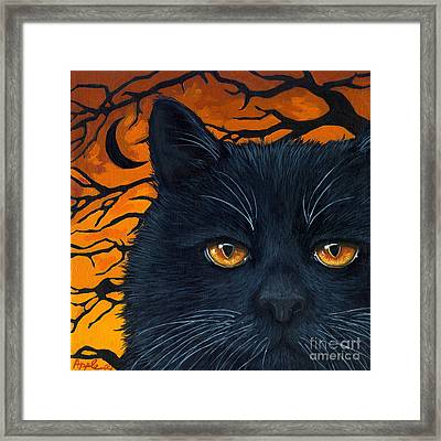 Black Cat And Moon Framed Print