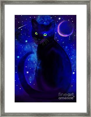 Framed Print featuring the painting Black Cat Blues  by Nick Gustafson