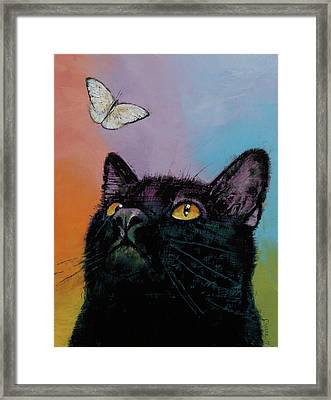 Black Cat Butterfly Framed Print