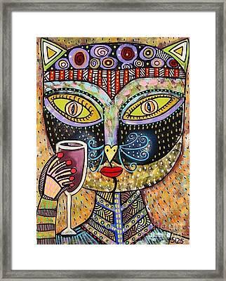 Black Cat Drinking Red Wine Framed Print by Sandra Silberzweig