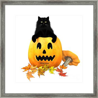 Black Cat Halloween Autumn Leaves Framed Print by Corey Ford