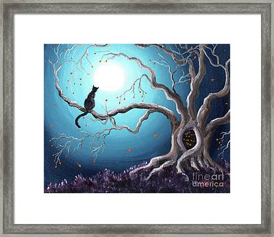 Black Cat In A Haunted Tree Framed Print by Laura Iverson