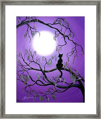 Black Cat In Mossy Tree Framed Print by Laura Iverson