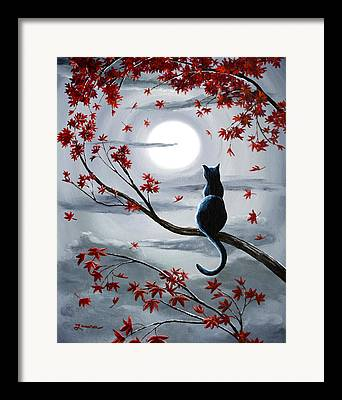 Surreal Cat Landscape Framed Prints