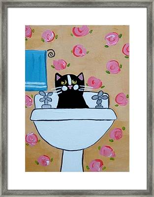 Black Cat In Sink Framed Print by Christine Quimby