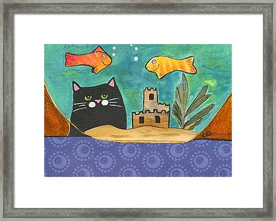 Black Cat Spying The Goldfish Framed Print by Christine Quimby