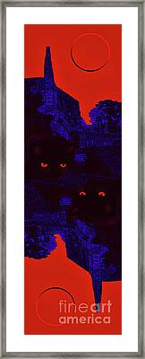 Black Cat Under A Blood Red Moon Framed Print by Jeff Breiman