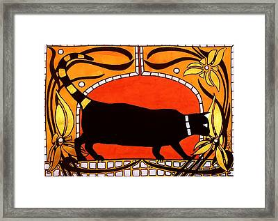 Framed Print featuring the painting Black Cat With Floral Motif Of Art Nouveau By Dora Hathazi Mendes by Dora Hathazi Mendes