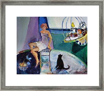 Framed Print featuring the painting Black Cat Yellow Bird by Diane Ursin