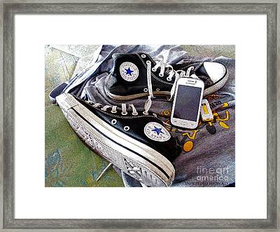 Black Chucks Atfer A Long Walking Framed Print