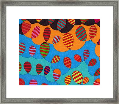 Black Clouds Blue Skies Sun And Balloons Framed Print
