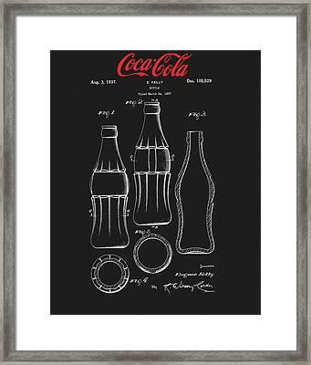 Black Coca Cola Bottle Patent Framed Print