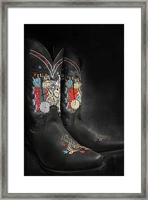 Black Cowboy Boot Framed Print
