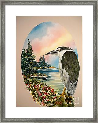 Flying Lamb Productions                     Black Crowned Heron Framed Print