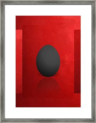 Black Egg On Red Canvas  Framed Print by Serge Averbukh