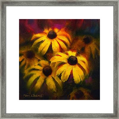 Framed Print featuring the painting Black Eyed Susans - Vibrant Flowers by Karen Whitworth