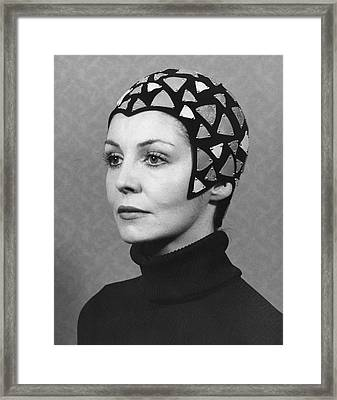 Black Felt Skull Cap Model Framed Print