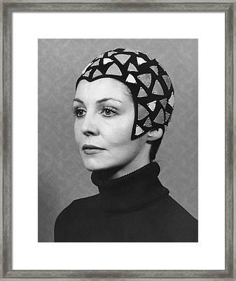 Black Felt Skull Cap Model Framed Print by Underwood Archives