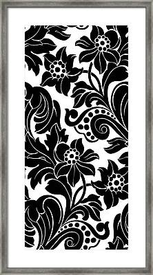 Black Floral Pattern On White With Dots Framed Print by Gillham Studios