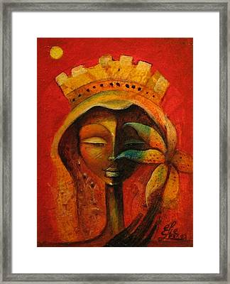 Black Flower Queen Framed Print by Elie Lescot