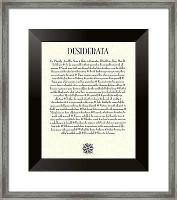 Black Border Sunburst Desiderata Poem Framed Print