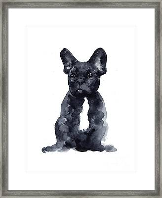 Black French Bulldog Watercolor Poster Framed Print by Joanna Szmerdt
