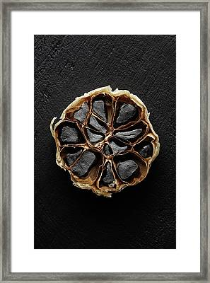 Black Garlic Cross-section Framed Print