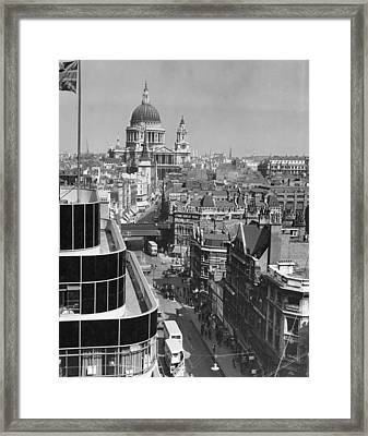 Black Glass Step-backs Of Daily Express Framed Print by W. Robert Moore