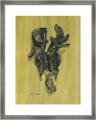 Black Gloves And Bibelot. Paradox Still Life Framed Print