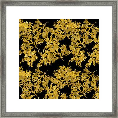 Framed Print featuring the mixed media Black Gold Leaf Pattern by Christina Rollo