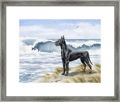 Black Great Dane At The Beach Framed Print