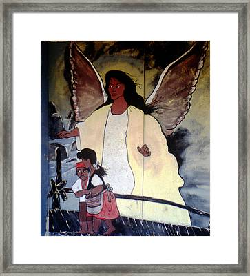 Black Guardian Angel Mural Framed Print