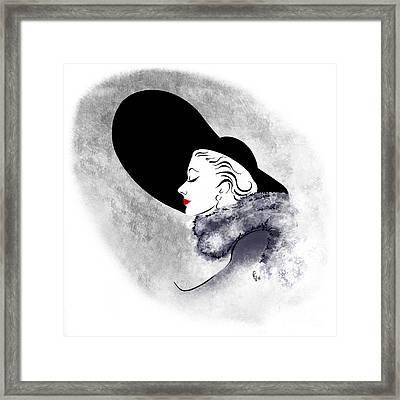 Framed Print featuring the digital art Black Hat Red Lips by Cindy Garber Iverson