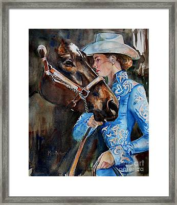 Black Horse And Cowgirl   Framed Print by Maria's Watercolor