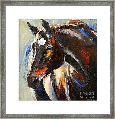 Black Horse Oil Painting Framed Print