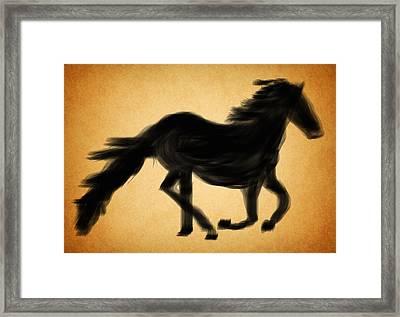Black Horse Framed Print