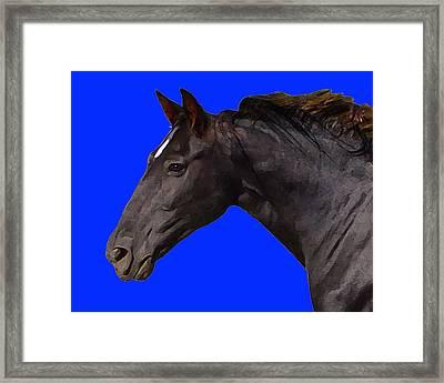 Framed Print featuring the digital art Black Horse Spirit Blue by Jana Russon