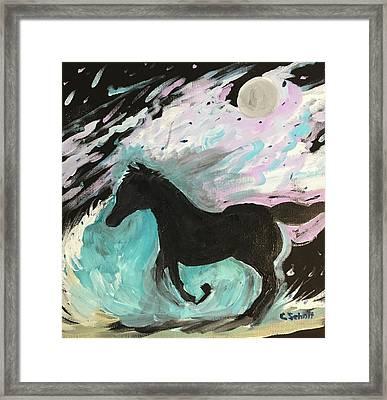Black Horse With Wave Framed Print