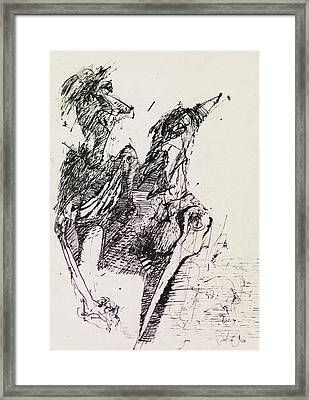 Black Ink Abstract Drawing Framed Print