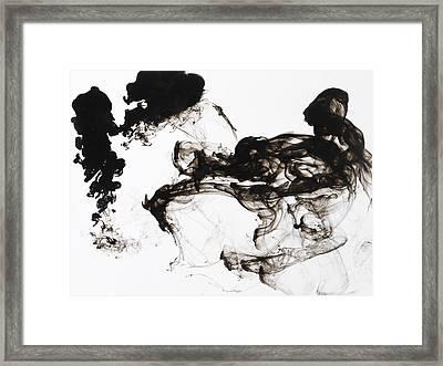 Black Ink Swirls In Water Framed Print