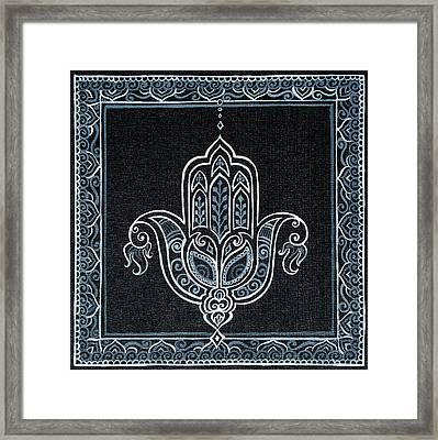 Black Khamsa Framed Print by Eleanor Hofer