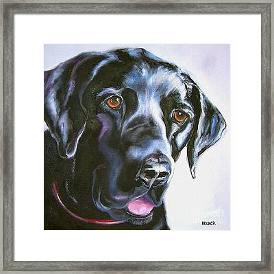 Black Lab No Ordinary Love Framed Print by Susan A Becker
