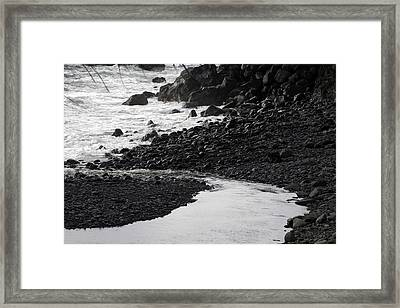 Black Lava Beach, Maui Framed Print