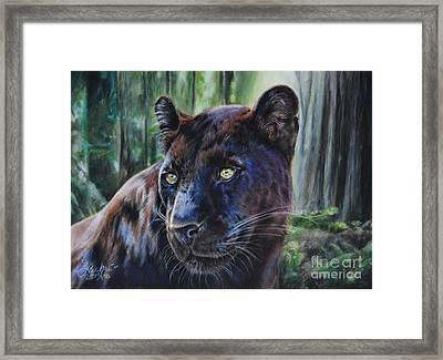 Black Leopard Framed Print