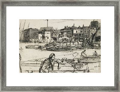 Black Lion Wharf Framed Print by James Abbott McNeill Whistler