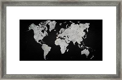 Framed Print featuring the digital art Black Metal Industrial World Map by Douglas Pittman