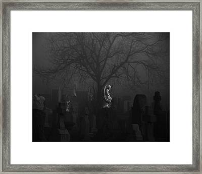 Black Midnight Stone Angel Framed Print by Gothicrow Images