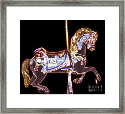 Black Neon Carousel Horse Framed Print